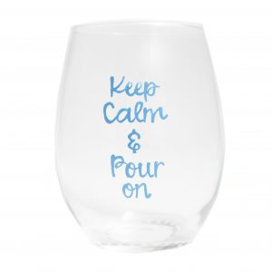 stemless painted wine glass