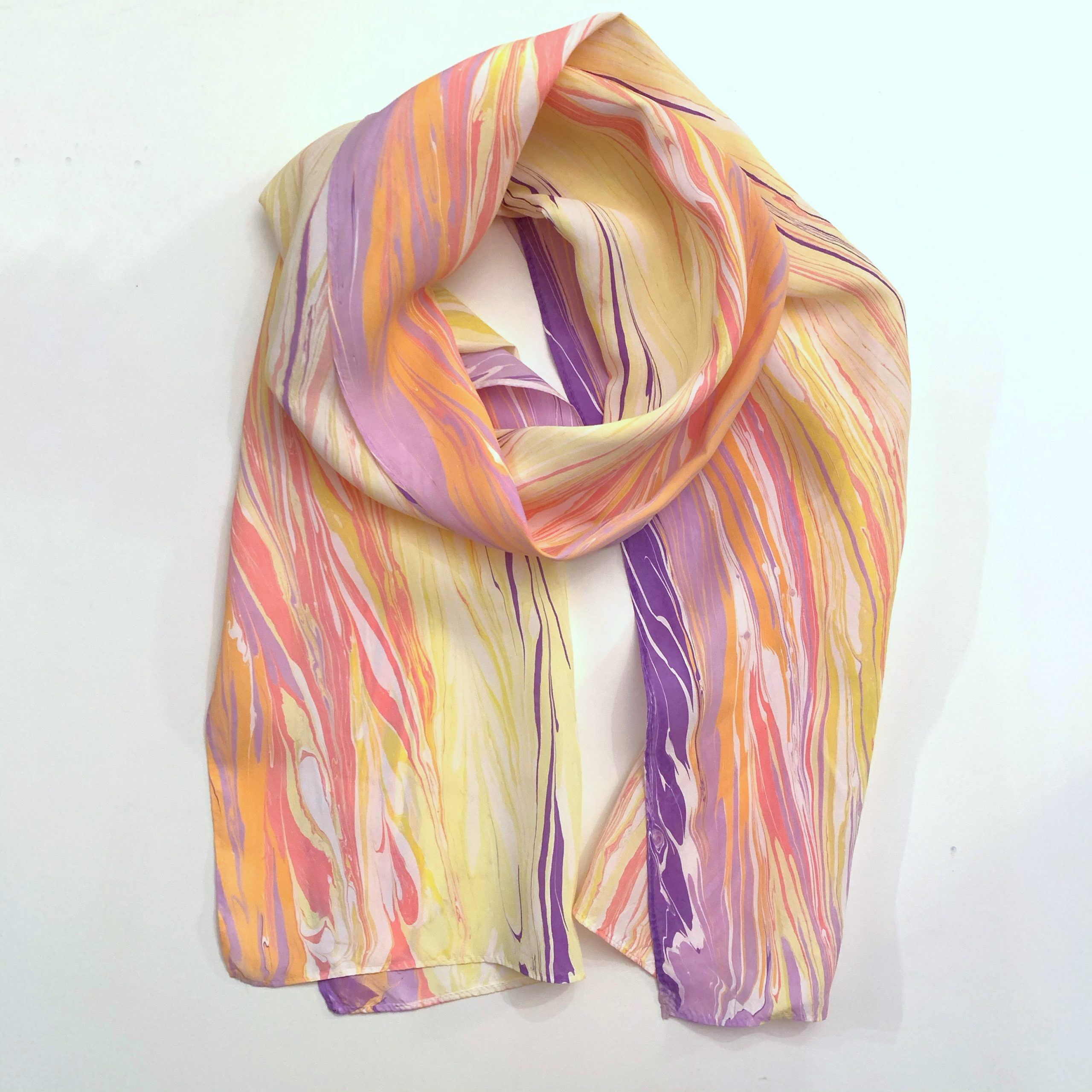 Sunset scarf water marbled design