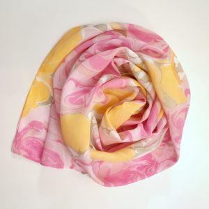 Pink and Orange Flower Scarf