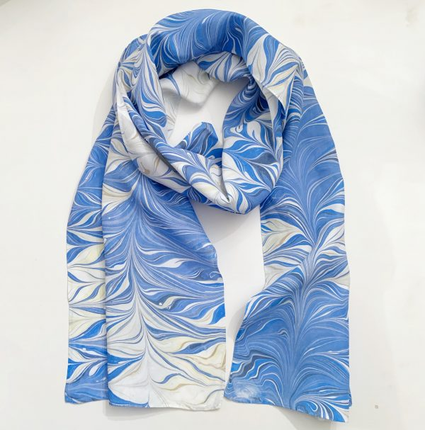 Blue and White Silk Scarf