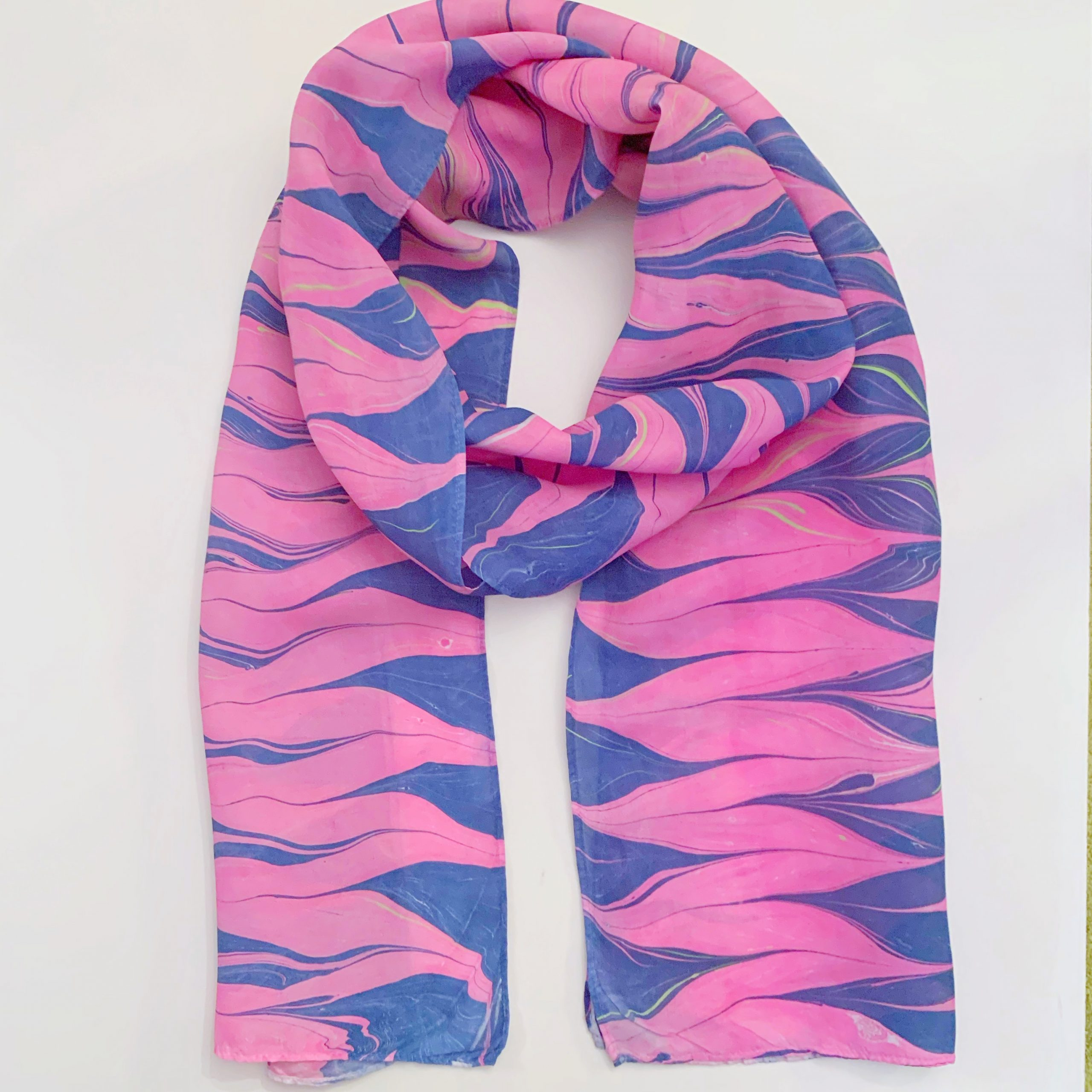Pink and Navy Silk Scarf