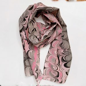Pink and Grey Silk Scarf