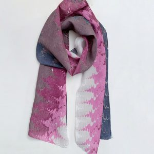 purple and navy silk scarf