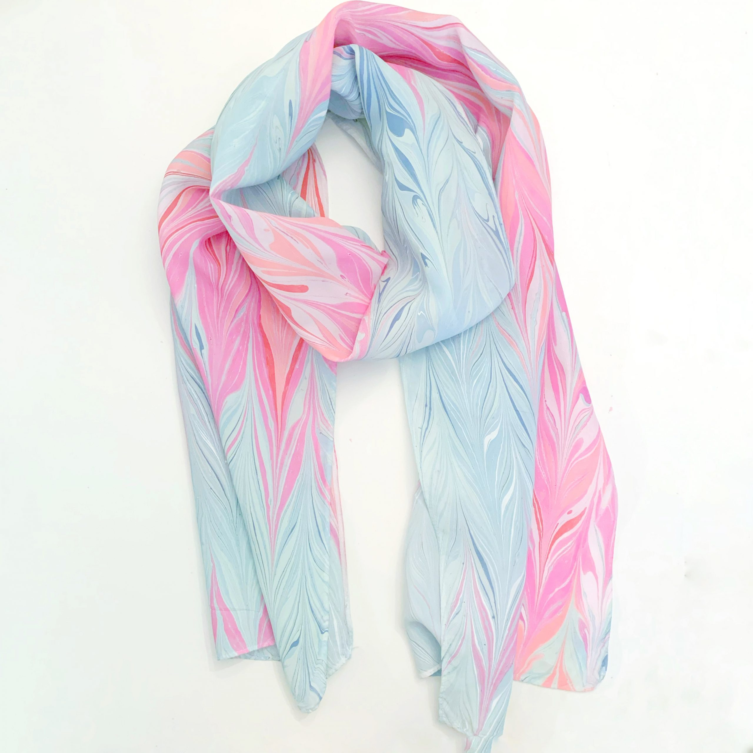 Pink and Blue Marbled Silk Scarf