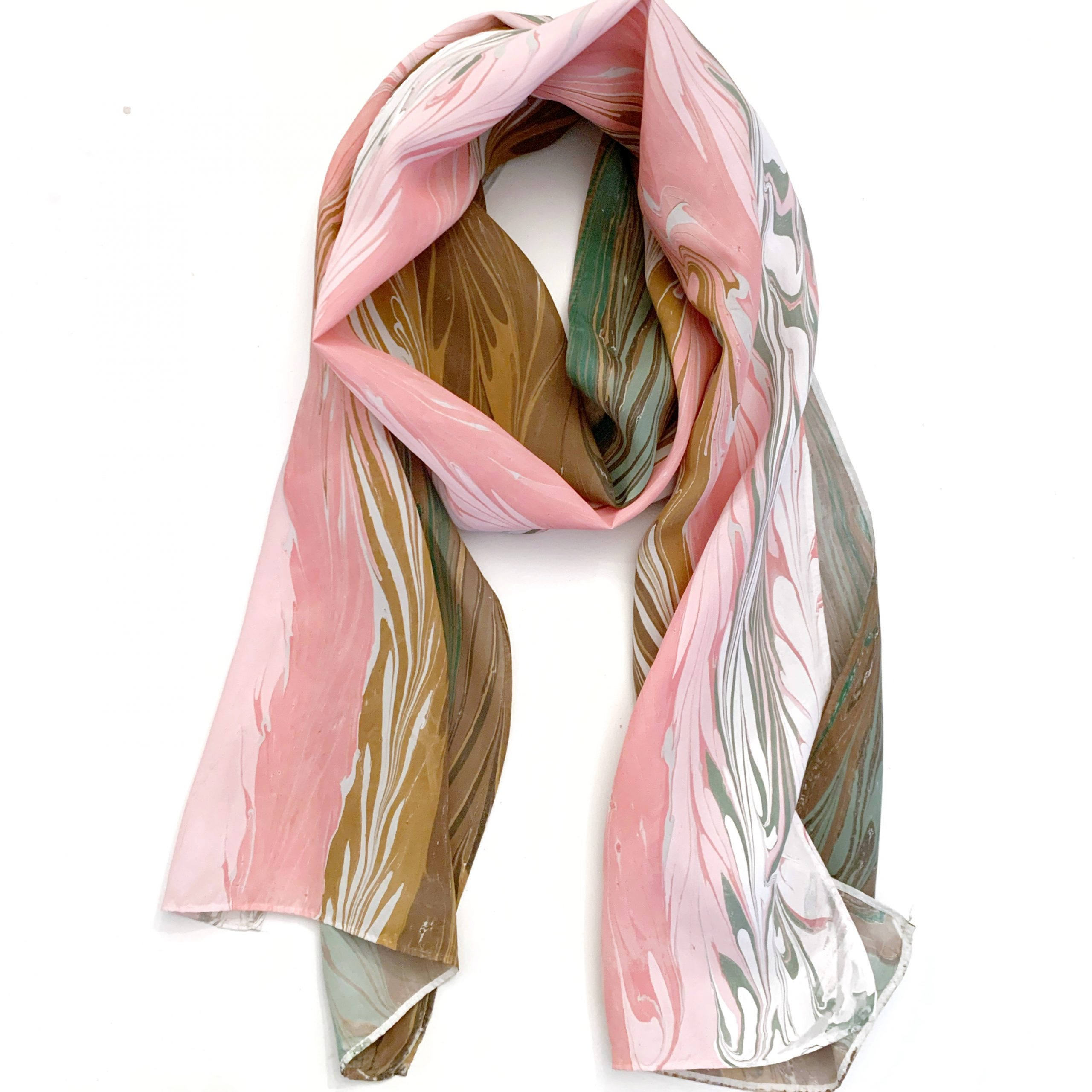 Pink and brown silk scarf