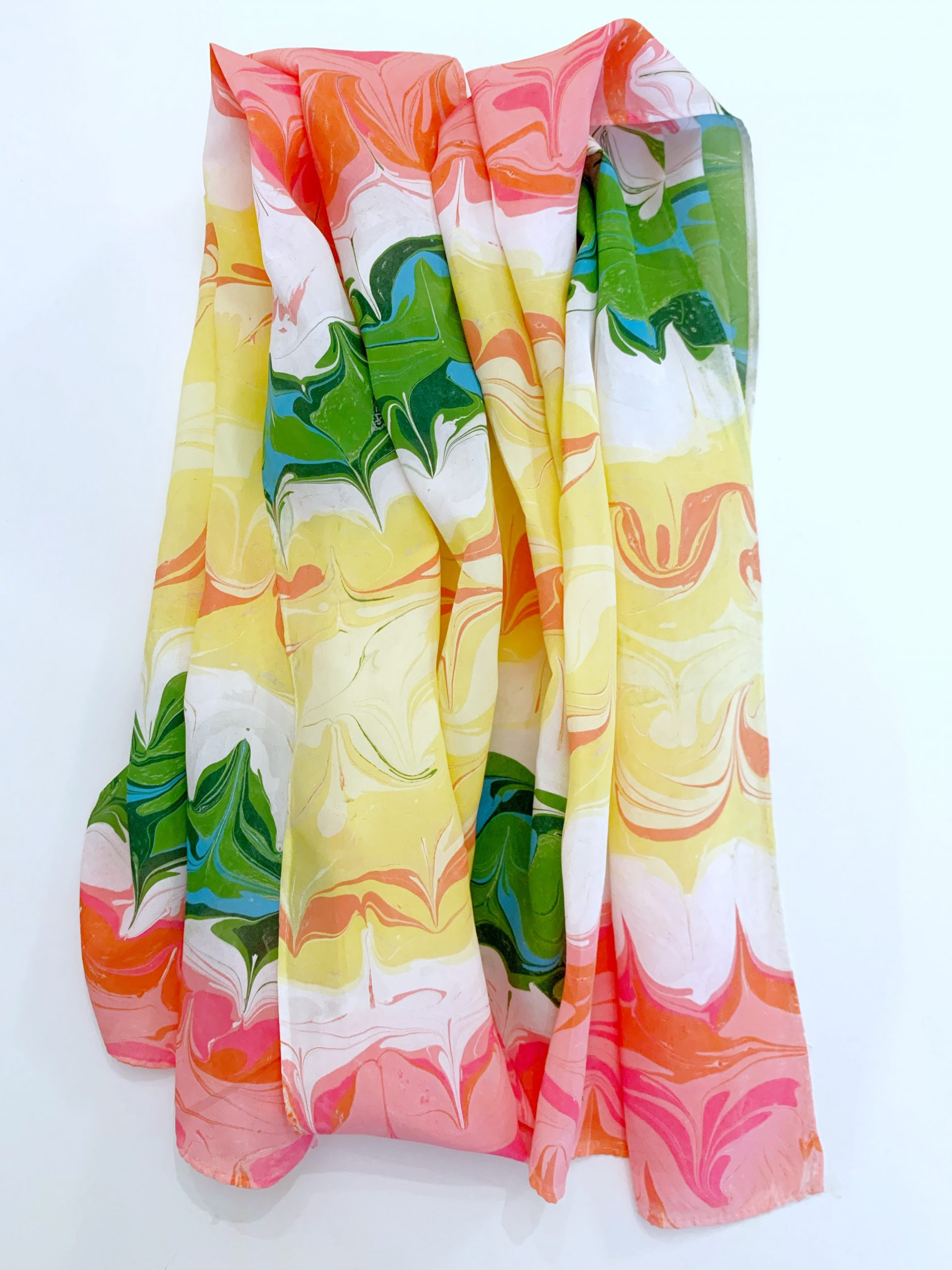 Pink, yellow, and green silk scarf