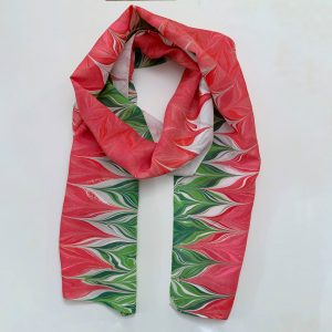 Red and Green Flower Inspired Scarf