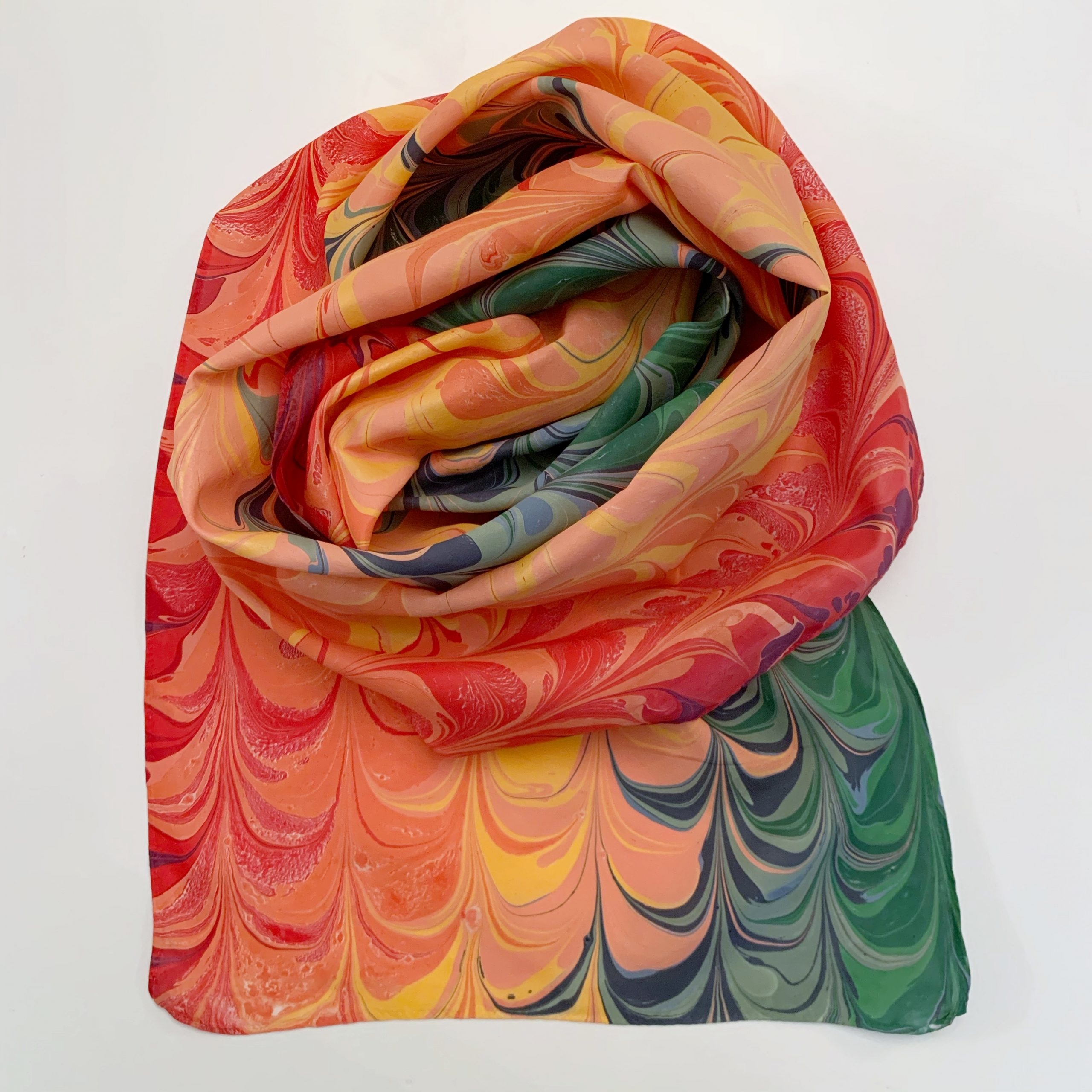 red, orange, and green painted scarf