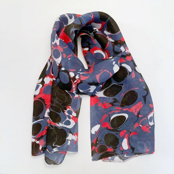 Water marbled Scarf Black, Red, and Navy