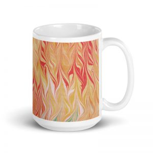 water marbled mug coral red