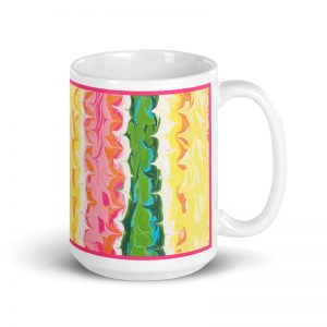 Pink Green and Yellow Mug For Her