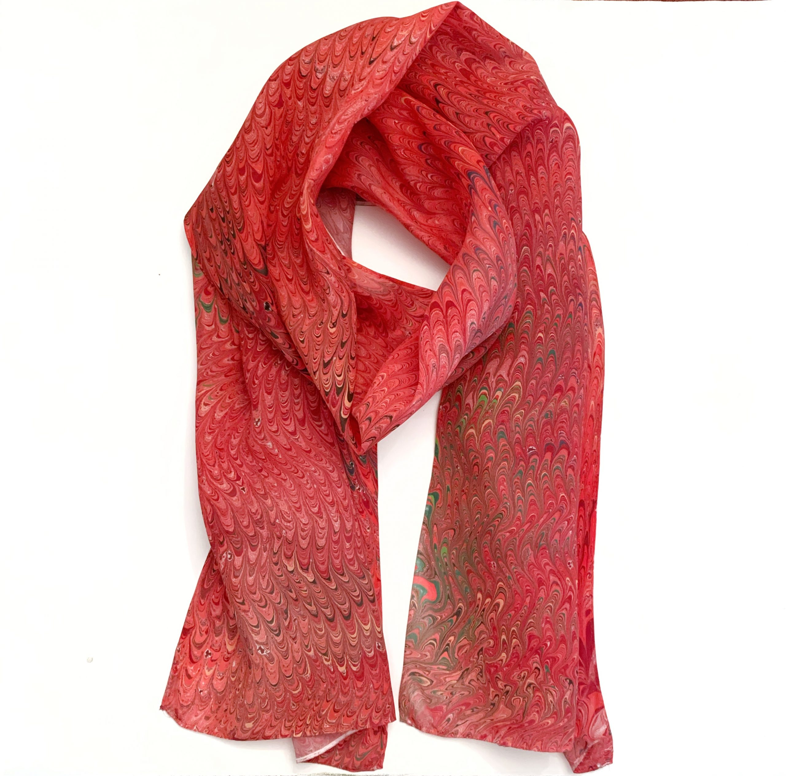 red water marbled scarf
