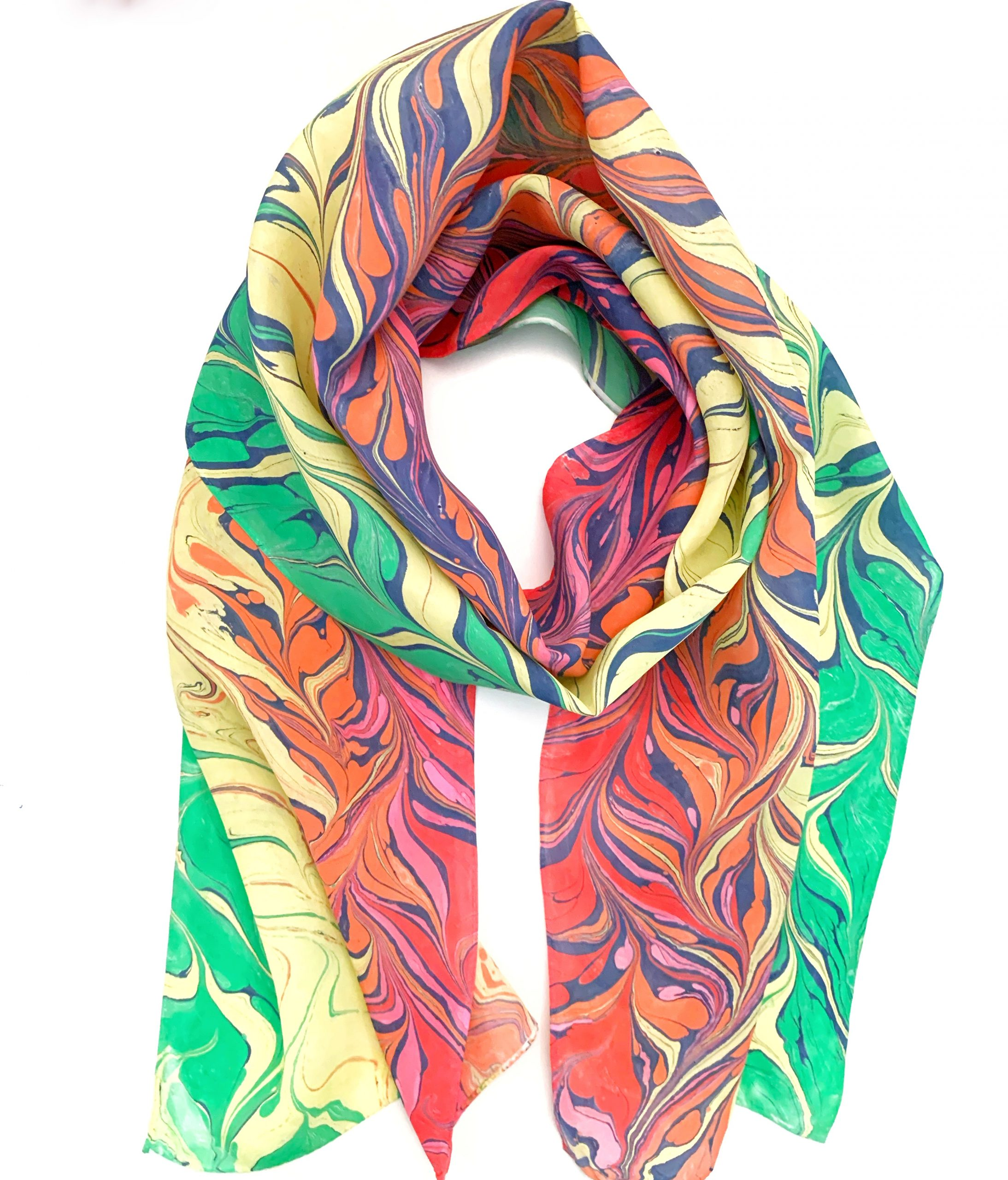 water marbled rainbow scarf