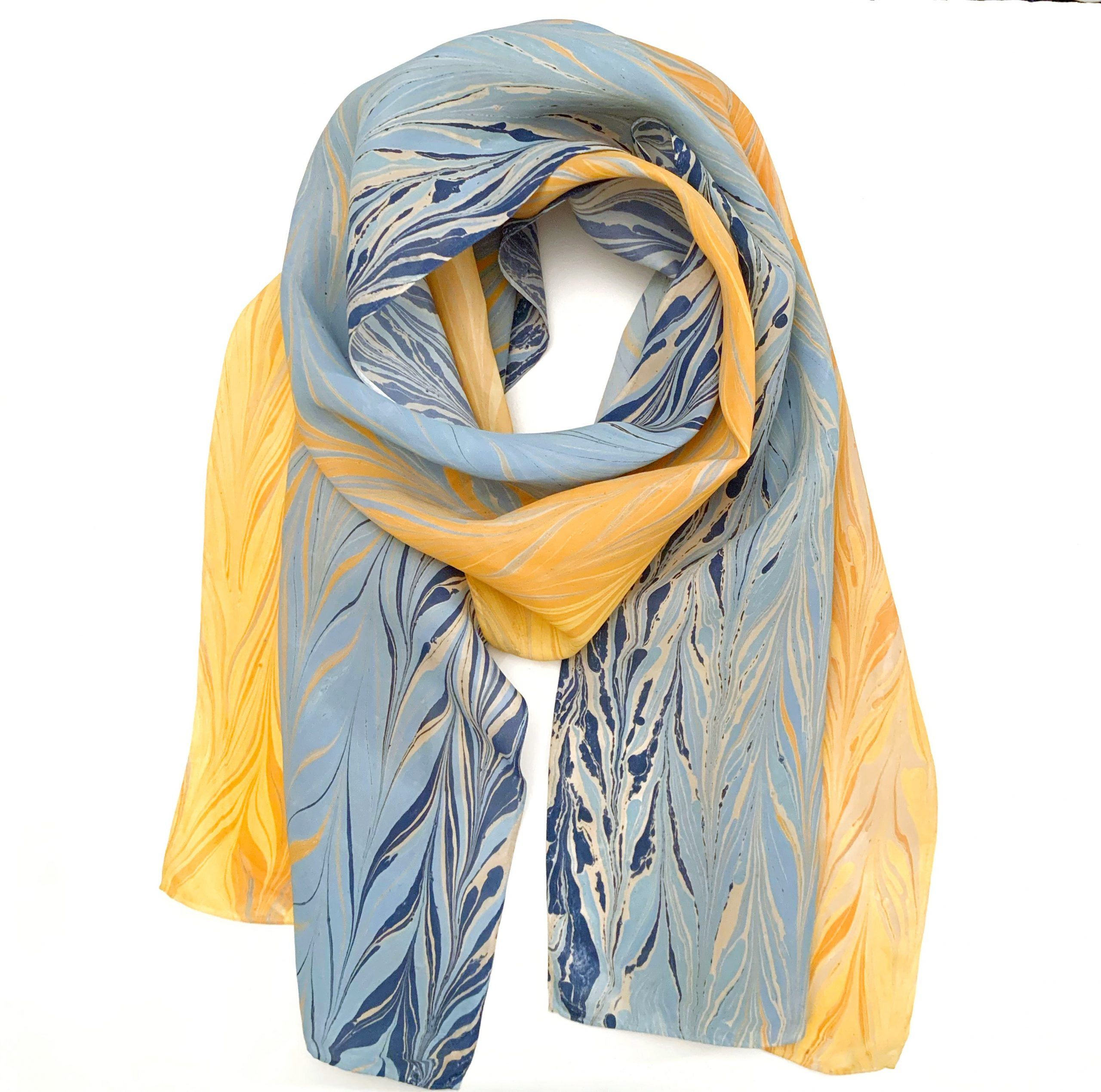 Yellow to Navy Ombre Scarf