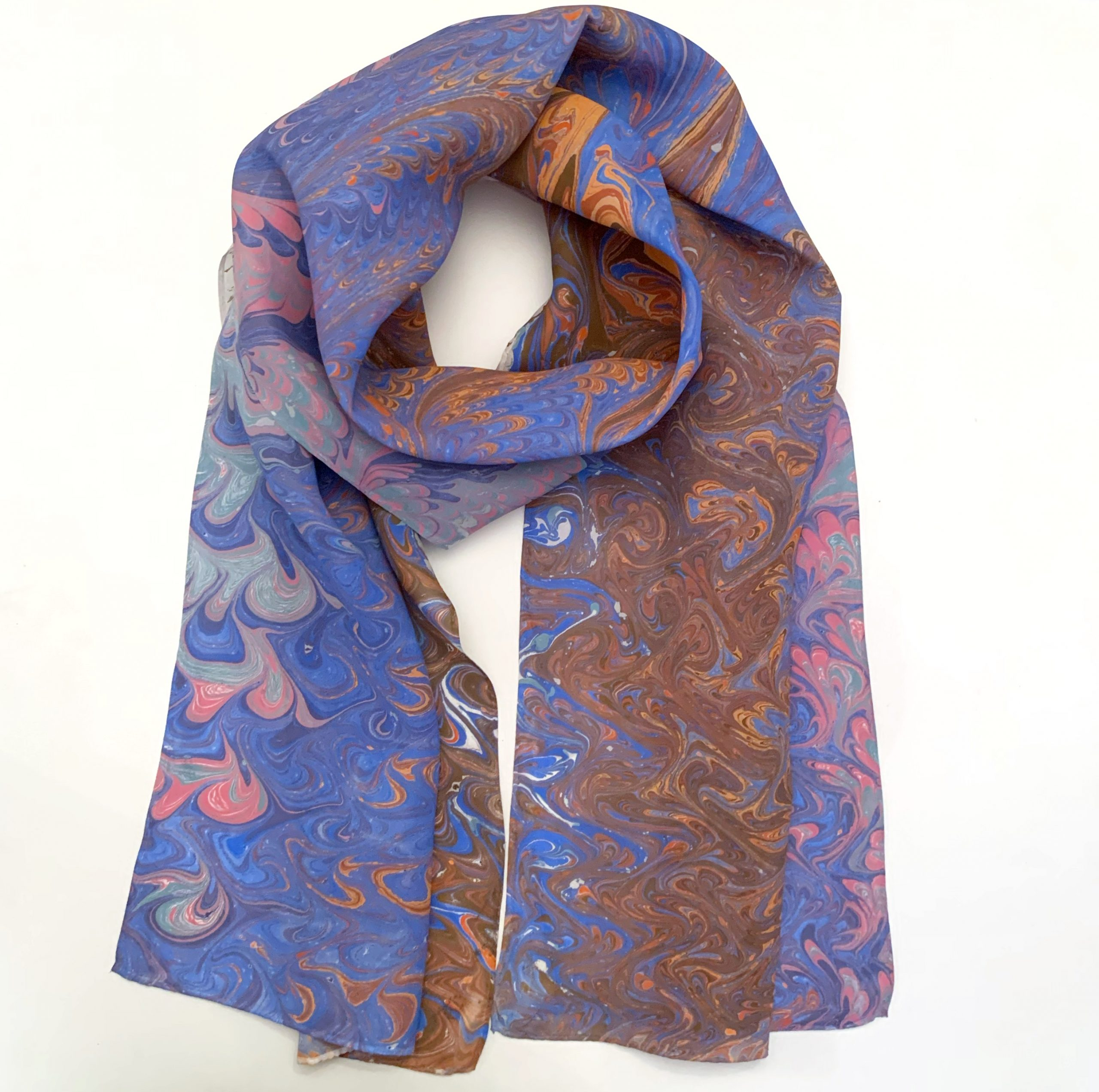 Desert Inspired Scarf Blue and Burnt Oranges