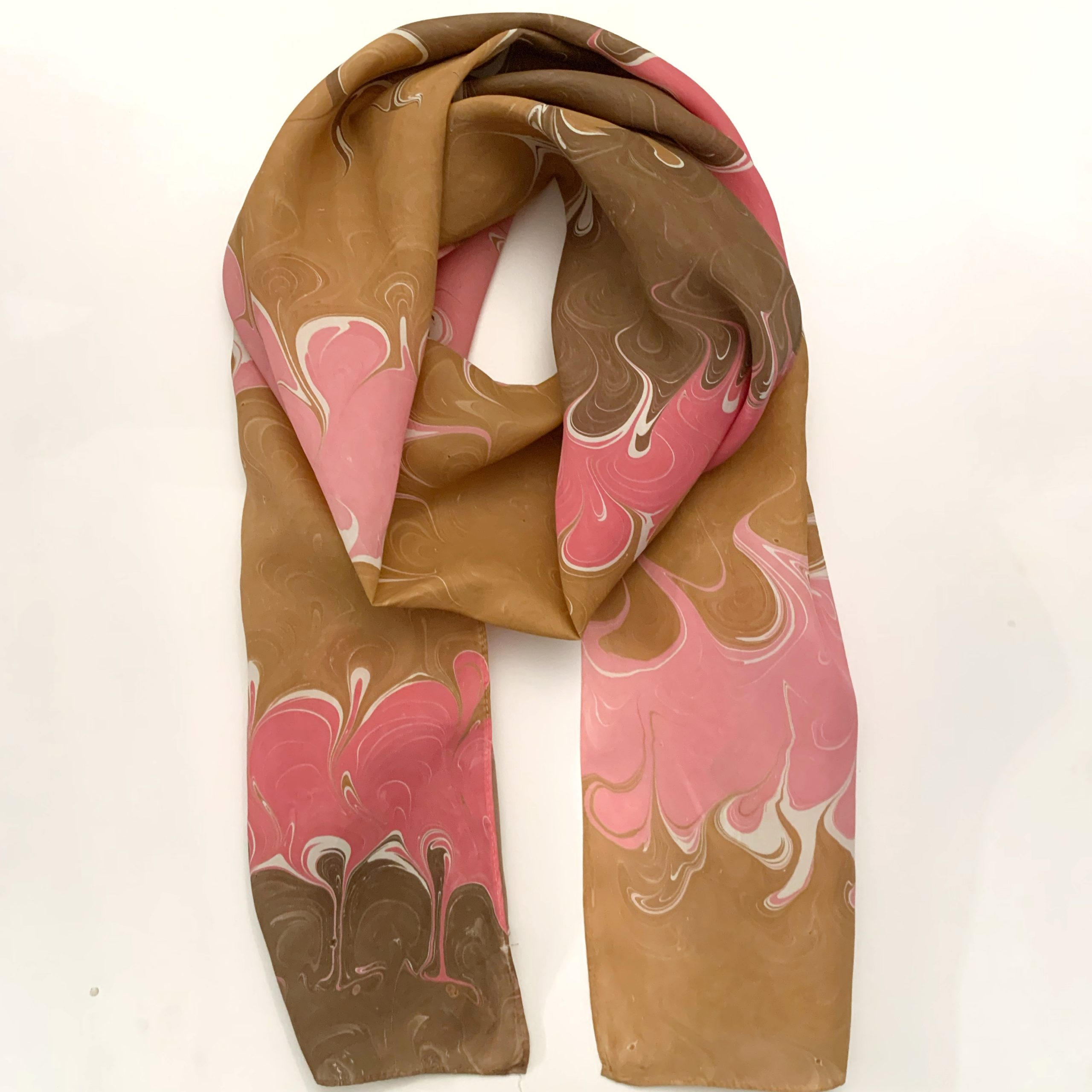 Pink and brown silk scarf mad with water marbling