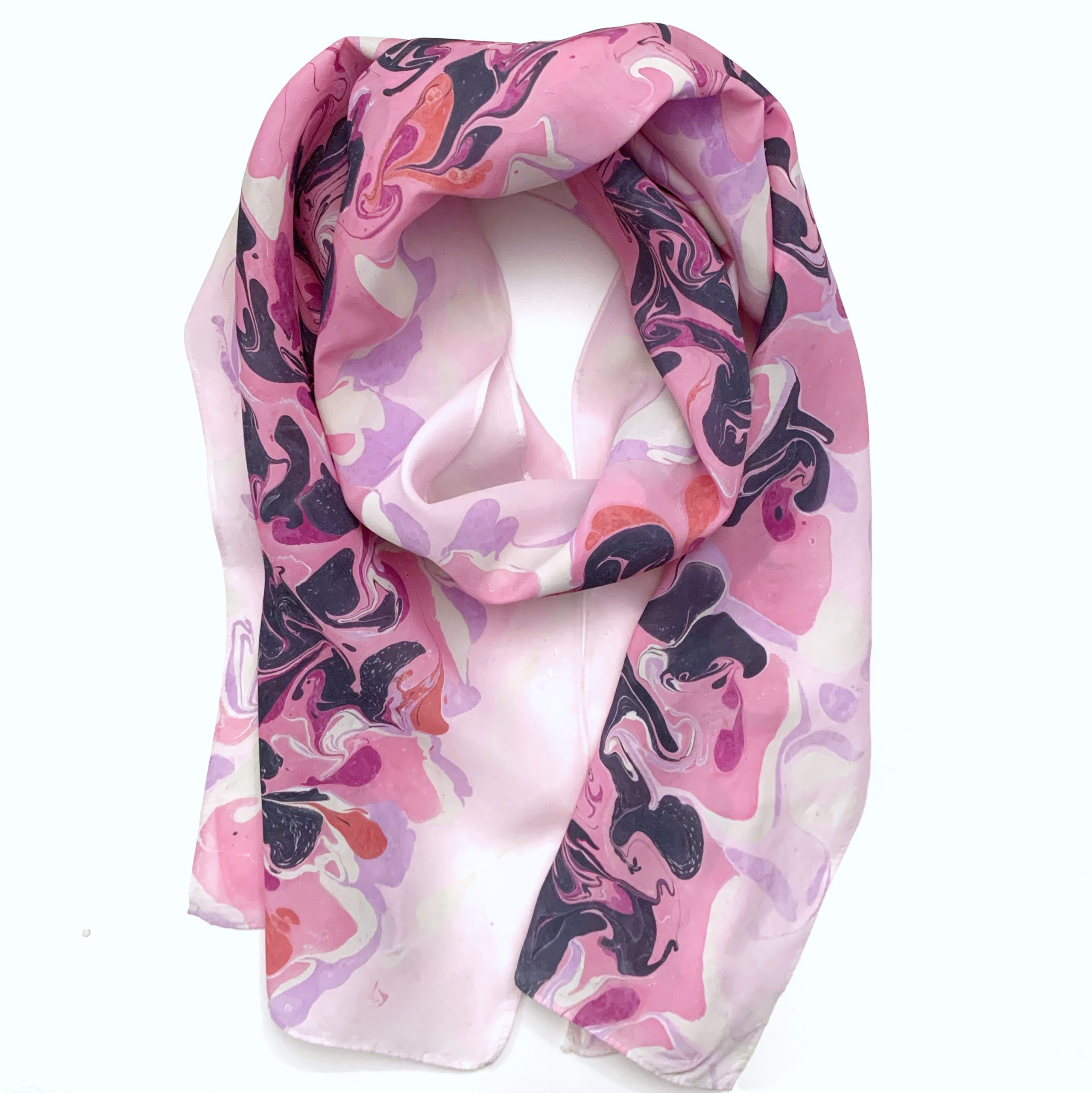 Pink, Navy, and Lavender SIlk Scarf