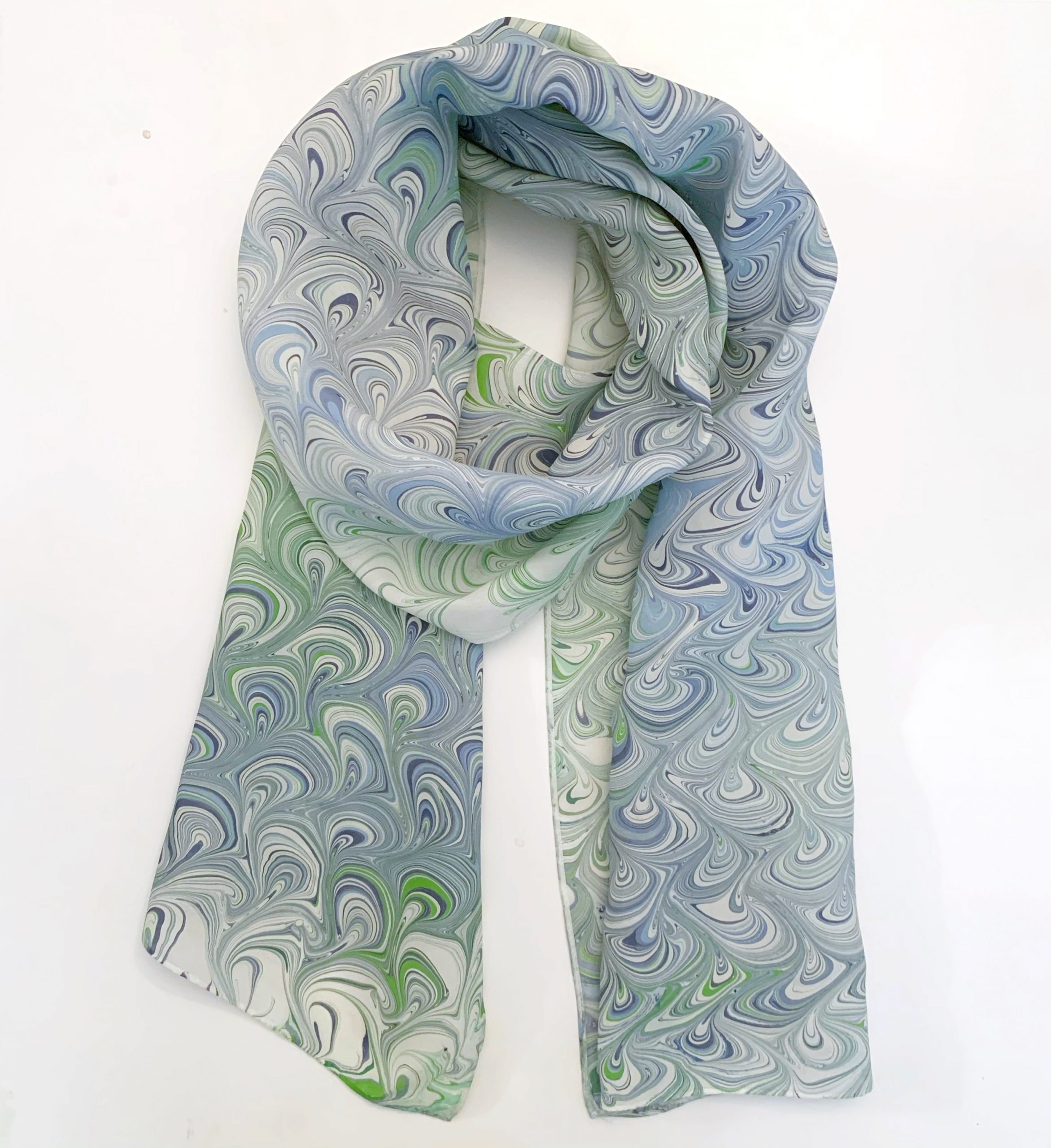 Water marbled scarf with blue and green