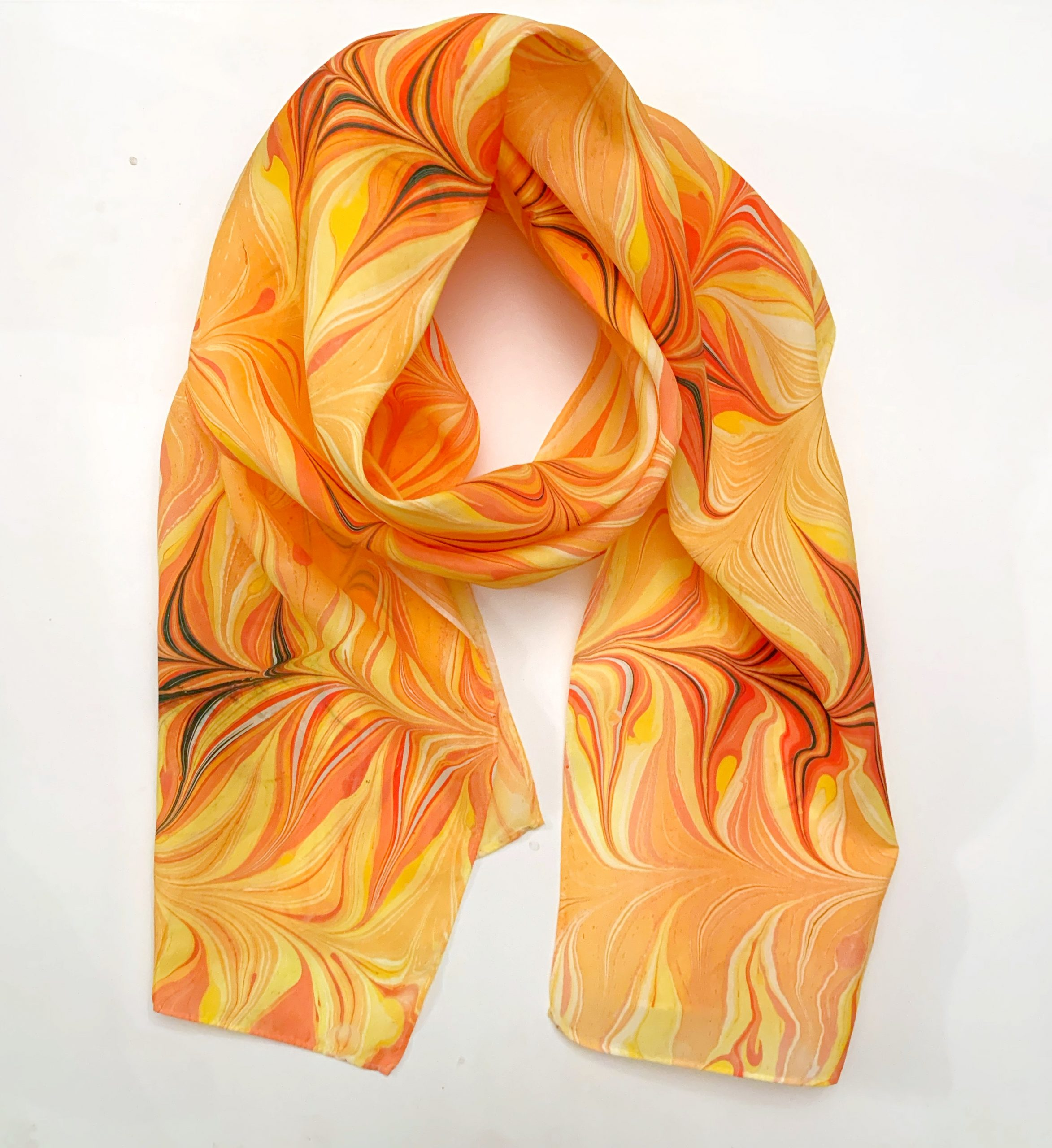 Yellow and Orange water marbled Scarf