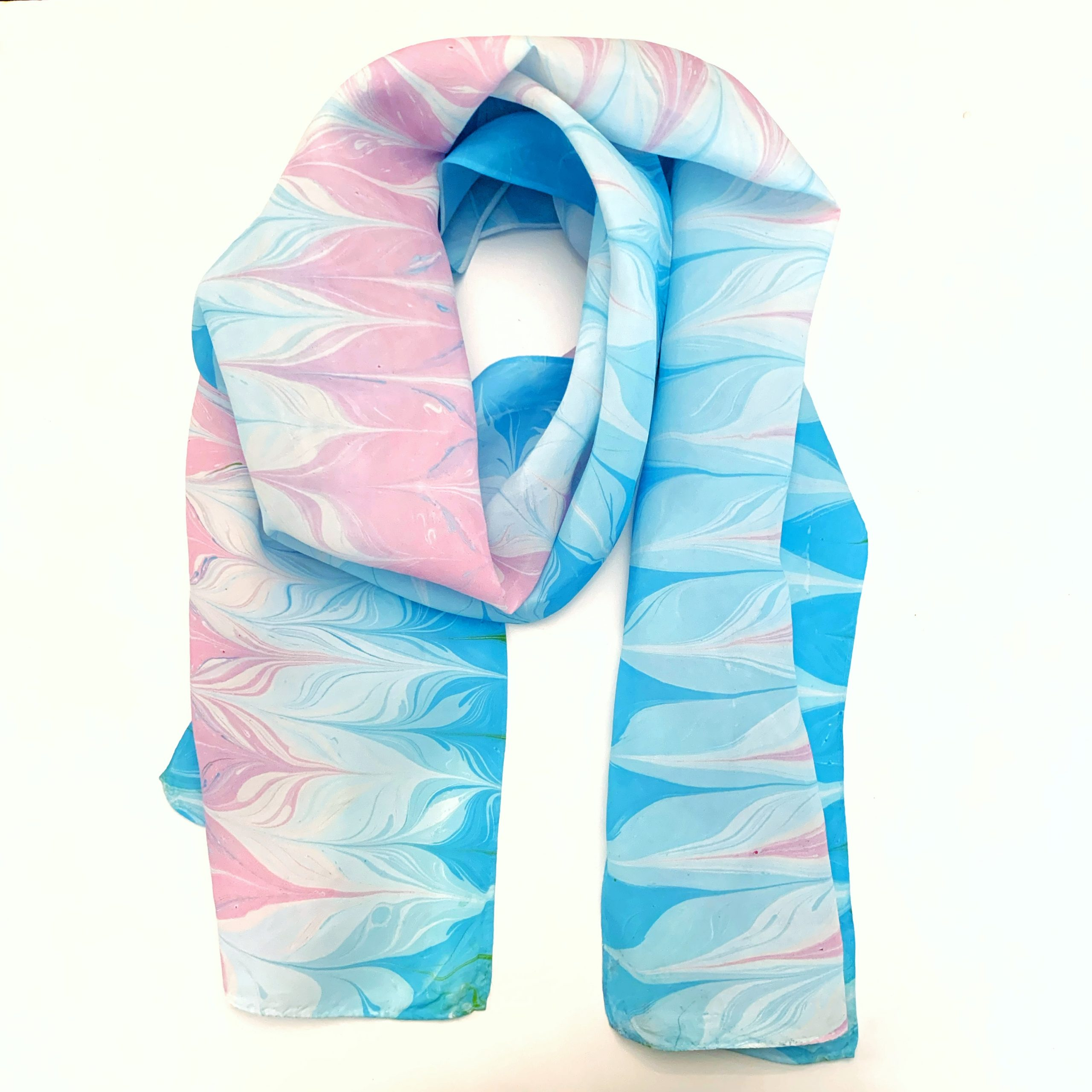 Pale Pink and blue Cotton Candy SCarf