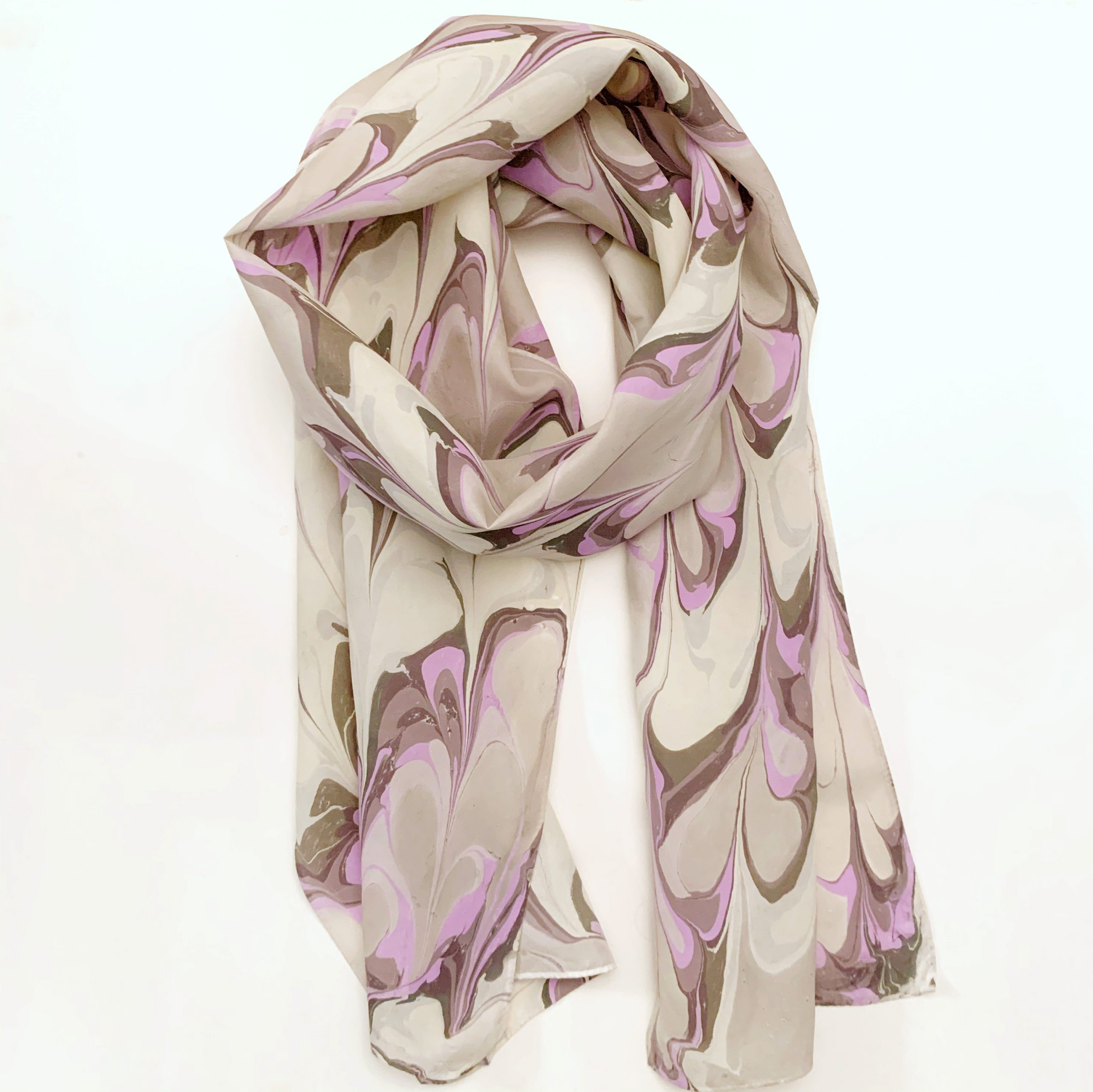 Lavender and Gray Silk Scarf