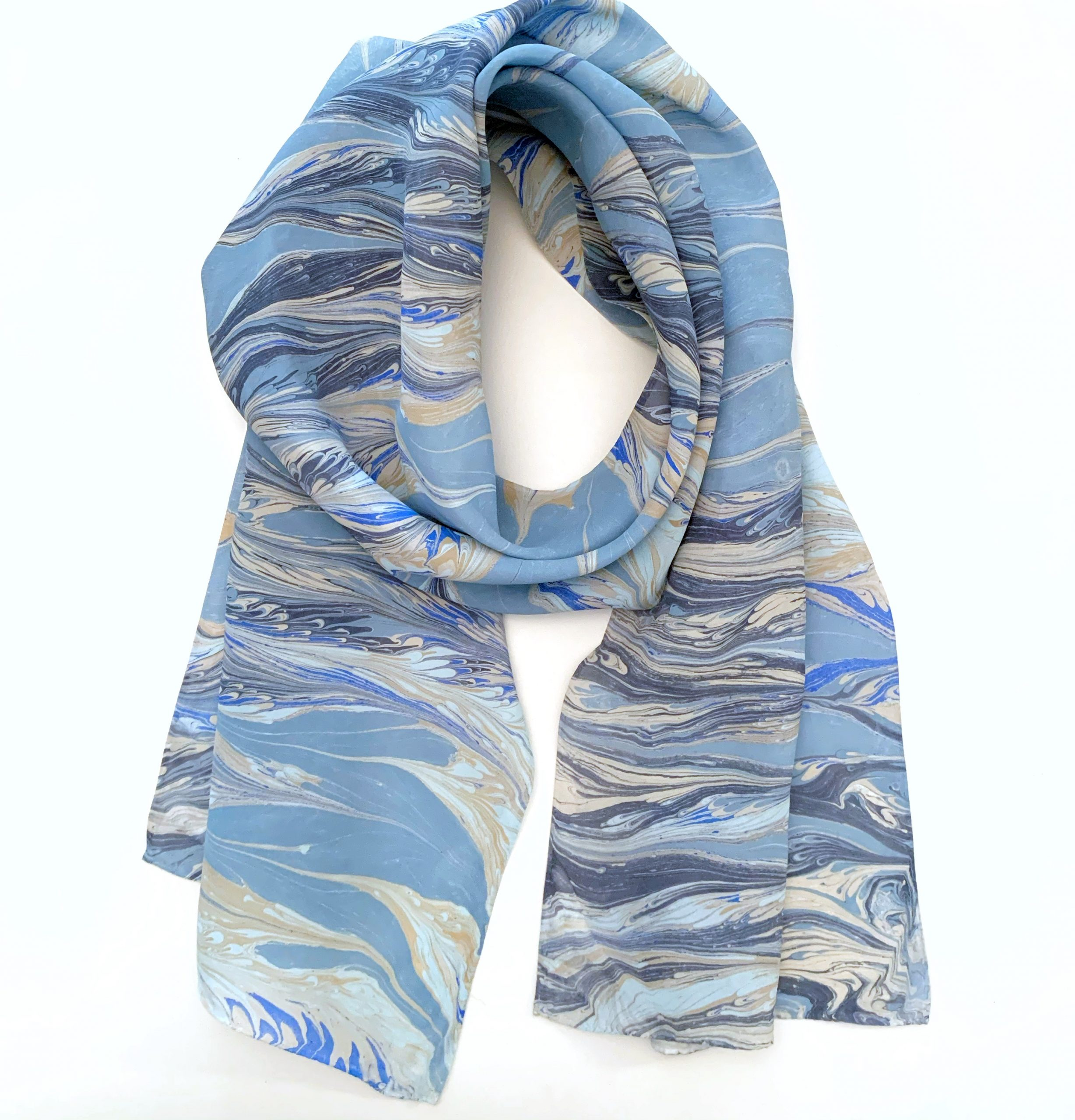 Denim Inspired SIlk Scarf