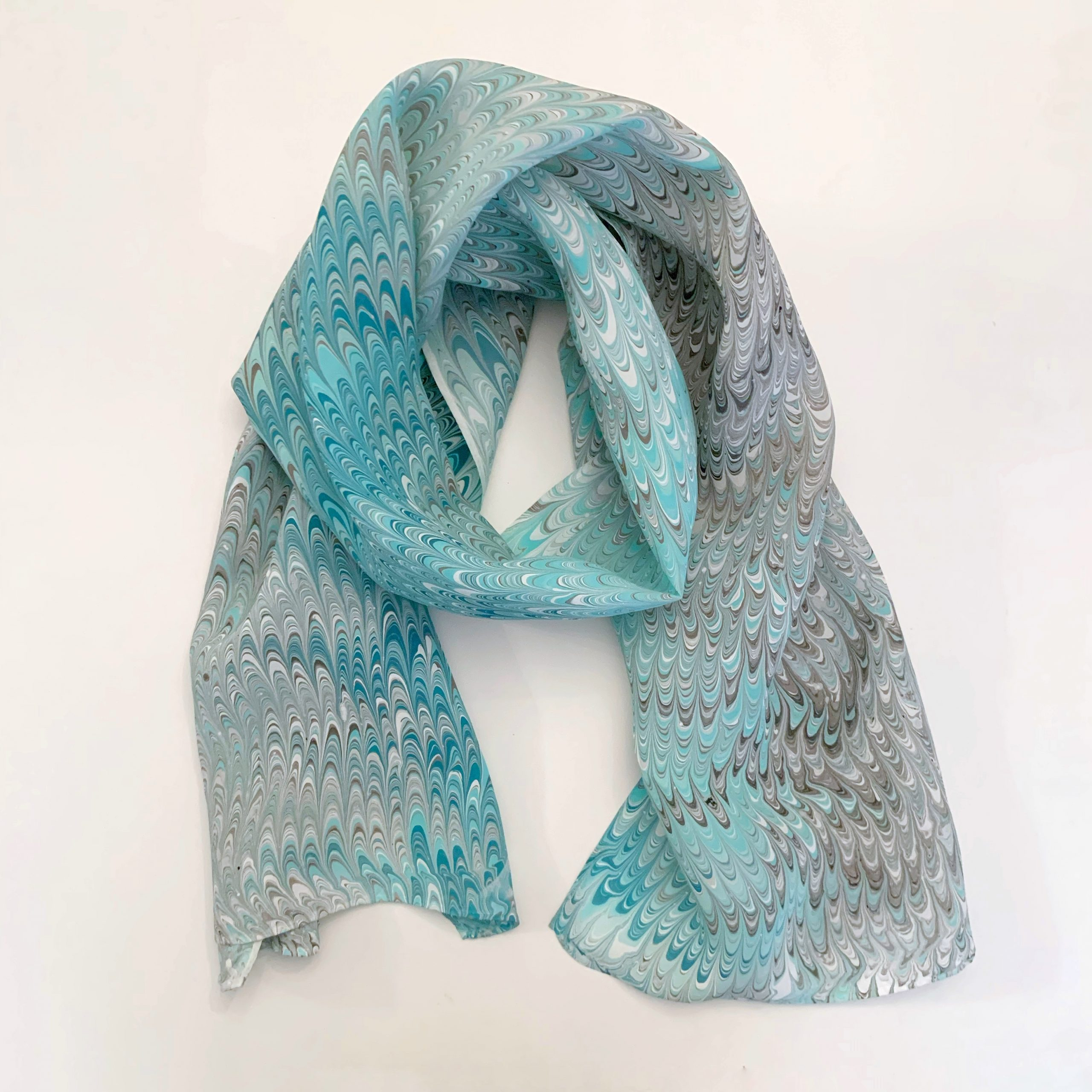 light blue and gray scarf
